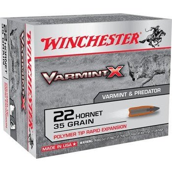 Winchester Varmint-X Rifle Ammunition X22P, 22 Hornet, Varmint, 35 GR, 3100 fps, 20 Rd/Bx