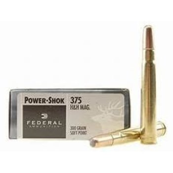 Federal Power-Shok Rifle Ammunition 375B, 375 H&H Mag, Soft Point (SP), 300 GR, 2530 fps, 20 Rd/bx
