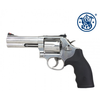 """Smith & Wesson Model 686 Canadian Edition Revolver, 357 Magnum, 4.25"""" Barrel, 6 Rounds, Stainless Finish, Hogue Grips"""