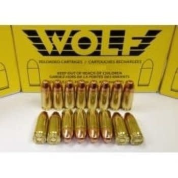 Wolf Remanufactured Handgun Ammo 45 ACP 200gr Wolf Brass Flat Point Plated 50 Rounds