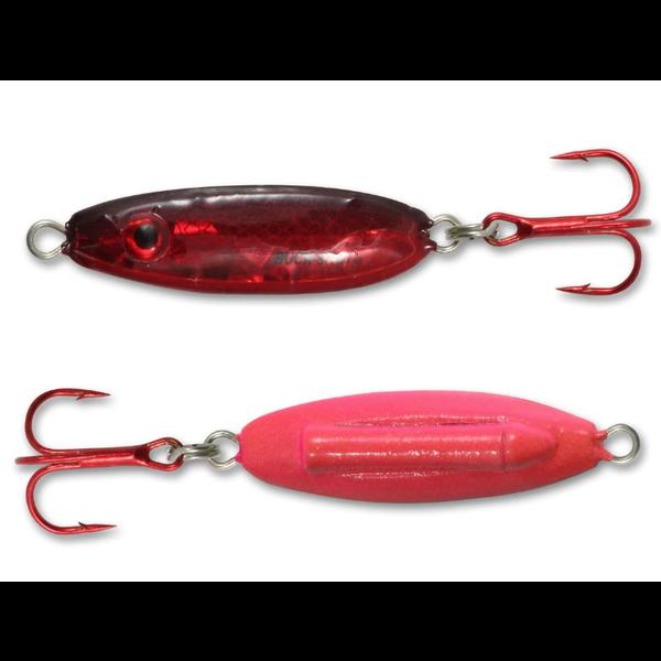 Northland Buck-Shot Rattle Spoon. 1/4oz Super-Glo Redfish