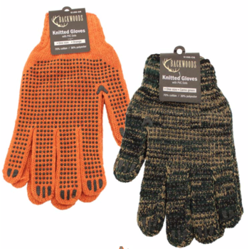Backwoods Knitted Gloves, Orange w/PVC Dots
