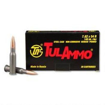 TulAmmo 7.62x54R Ammo, 148gr Full Metal Jacket