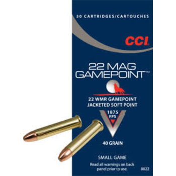 CCI 22 Mag Gamepoint Ammo 22 WMR 40gr Jacketed Soft Point 1875fps 100 Rounds