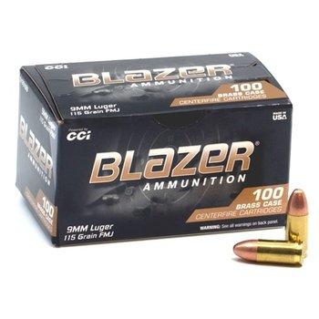 CCI Blazer Ammo 9mm 115gr FMJ 100 Rounds