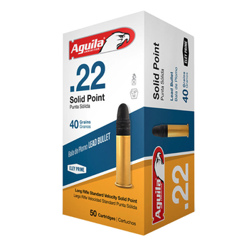 Aguila Ammo 22LR 40gr Lead Solid Point 1130fps 50 Rounds