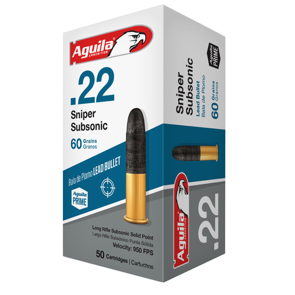 Aguila Sniper Subsonic Ammo 22LR 60gr LRN 950fps 50 Rounds