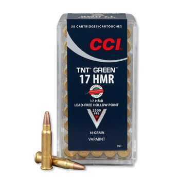 CCI TNT Green Ammo 17 HMR Lead Free Hollow Point 16gr 2500fps 50 Rounds