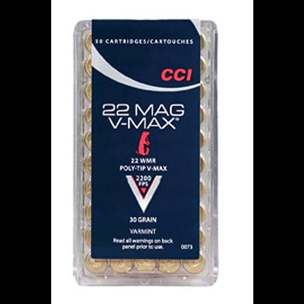 CCI 22 Mag V-Max Ammo 22 Mag 30gr Polymer Tip 2200fps 50 Rounds
