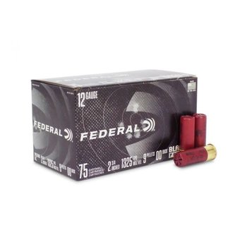 "Federal Black Pack Ammo 12ga 2-3/4"" 00 Buckshot 75 Round"