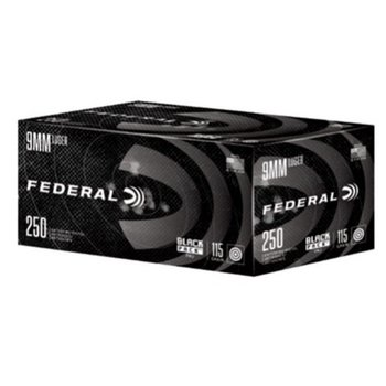 Federal Black Pack Ammo 9 Luger 115gr Full Metal Jacket 250 Rounds
