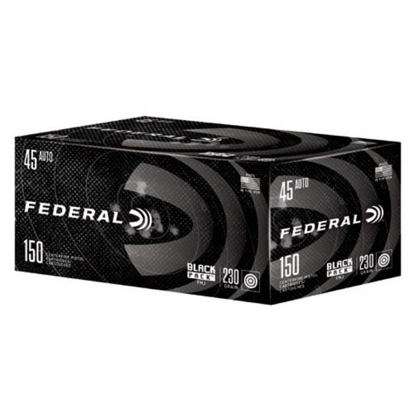 Federal Black Pack Ammo 45 ACP 230gr Full Metal Jacket 150 Rounds