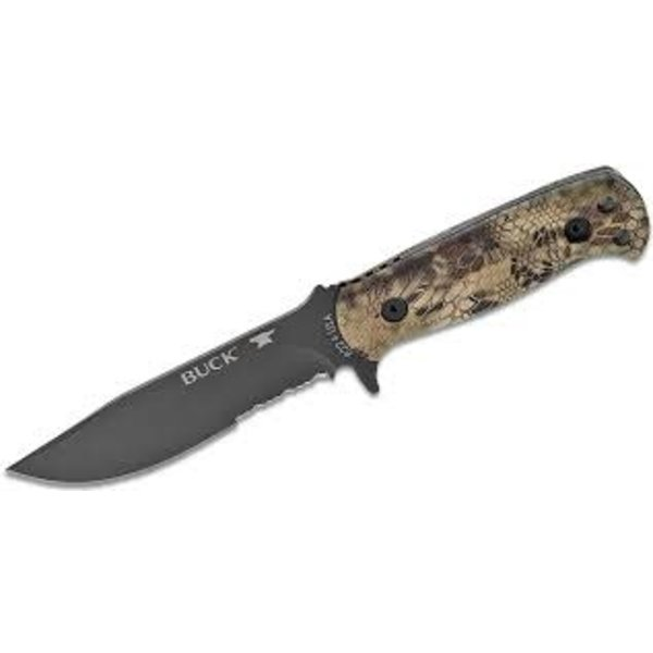 "Buck Sentry Fixed Blade Knife 5"" Black Cerakote Combo Clip Point, Kryptek Highlander Injection Molded Nylon Handles w/Polyester Sheath"