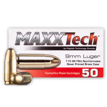 MaxxTech 9mm Luger 115gr Ammunition, Case of 1000