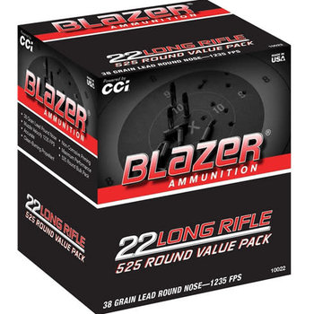 CCI Blazer Rimfire Ammunition 10022, 22 Long Rifle, Lead Round Nose (RN), 38 GR, 1235 fps, 525 Rd/bx