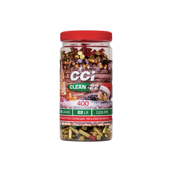 CCI 22LR 40 gr LRN Clean-22 400 Round Christmas Pack with Red and Green Bullets