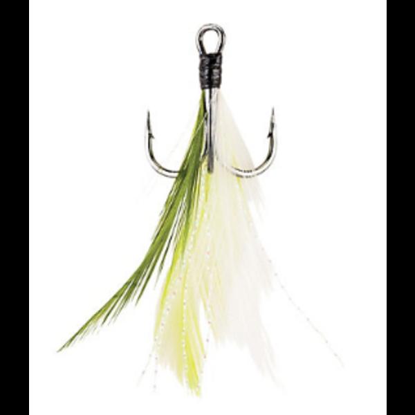 Berkley Fusion19 Feathered Treble Hook Size 4 4-pk White Chartreuse