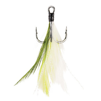 Berkley Fusion19 Feathered Treble Hook Size 6 4-pk White Chartreuse