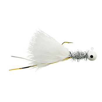 Johnson Beetle Bou White Chrome Tinsel White 1/16oz Jigs. 4-pk
