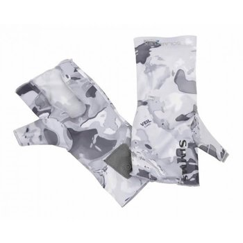 Simms Simms SolarFlex No-Finger Sun Glove Cloud Camo Grey L/XL
