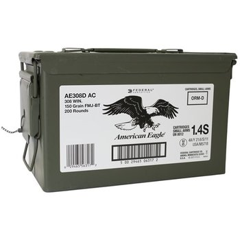 Federal American Eagle 308 Winchester 150 Grain Full Metal Jacket Boat Tail 200 Rounds in Ammo Can