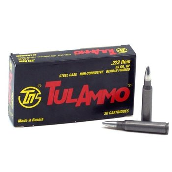 TulAmmo 223 Rem Ammo 55gr HP BiMetal Jacket Steel Case 1000 Rounds