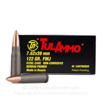 TulAmmo 7.62X39 Ammo 124gr FMJ BiMetal Jacket Steel Case Non-Corrosive 20 Rounds