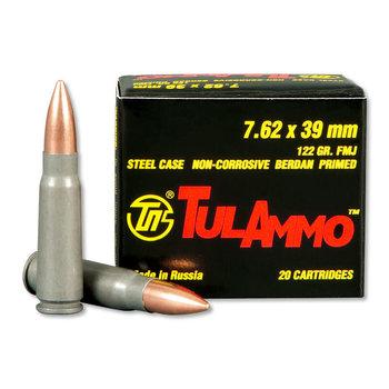 TulAmmo TulAmmo 7.62X39 Ammo, 122gr FMJ BiMetal Jacket Steel Case Non-Corrosive 1000 Rounds