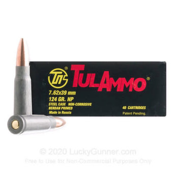 TulAmmo 7.62X39 Ammo, 124gr HP BiMetal Jacket Steel Case Non-Corrosive 1000 Rounds