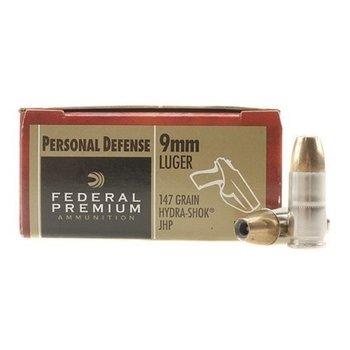 Federal P9HS2 Premium Personal Defense Pistol Ammo 9MM, Hydra-Shok