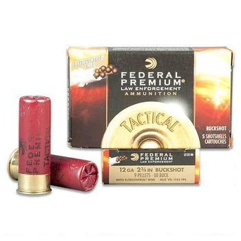 "Federal LE Tactical 12 Gauge Ammunition 5 Rounds 2-3/4"" 9 Pellet 00 Buckshot 1145fps"