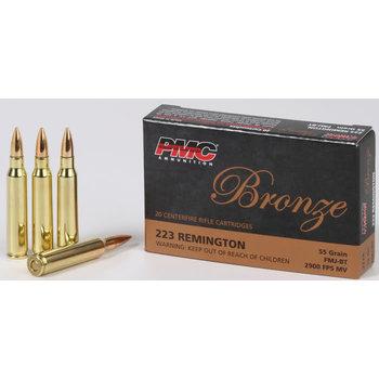 PMC Bronze Line Rifle Ammunition 223A, 223 Remington, FMJ Boat-Tail, 55 GR, 3200 fps, 20 Rd/bx