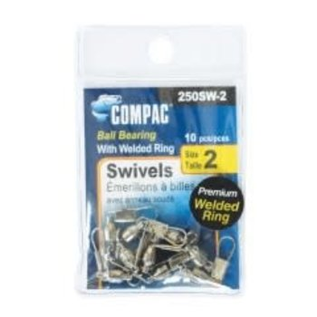 Compac Ball Bearing Swivel w/Interlock Snap Size 0 10-pk