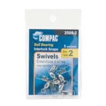 Compac Ball Bearing Swivel w/Interlock Snap Size 3 5-pk