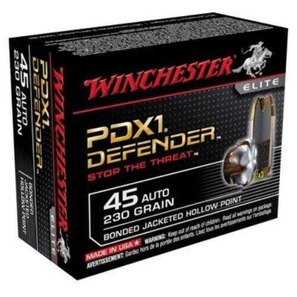 Winchester S45PDB Defender Elite PDX1 Pistol Ammo 45 ACP, BJHP, 230