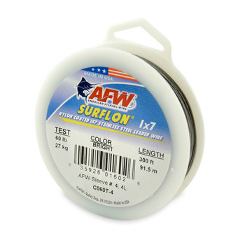 American Fishing Wire Surflon Nylon Coated Stainless Leader 150lb 300' Black