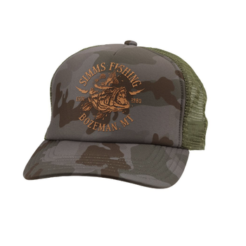 Simms Adventure Trucker Hat Bass Lightning Pico Camo Mineral