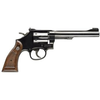"Smith & Wesson Model 17 Masterpiece Revolver, .22LR, 6"" Barrel, Wood Grip, Blued Finish, 6 Round, 150477"