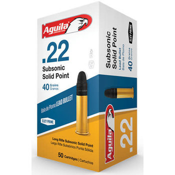 Aguila Subsonic Rifle Ammunition 1B222269, 22 Long Rifle, Round Nose (RN), 40 GR, 1025 fps, 50 Rd/bx