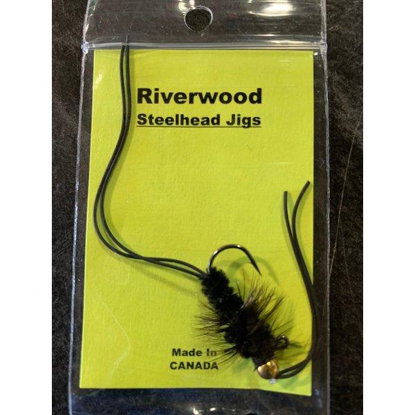 Riverwood Steelhead Jig Rubber Leg Stone Black