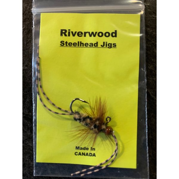 Riverwood Steelhead Jig Rubber Leg Stone Mini Brown