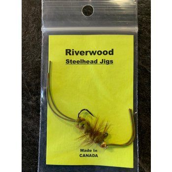 Riverwood Steelhead Jig Rubber Leg Stone Mini Olive
