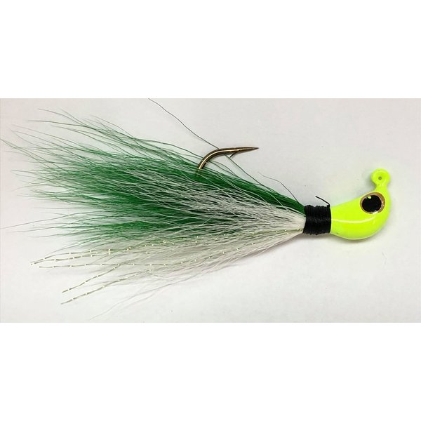 Big Jim's Bucktail Jig. 3/8oz White Belly Green Top w/Chart Head