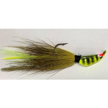 Big Jim's Bucktail Jig. 1/2oz Olive Yellow Chart Feather Chart Black Head