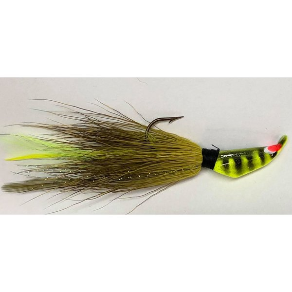 Big Jim's Bucktail Jig. 1/2oz Olive Yellow Chart Feather Chart Black Head