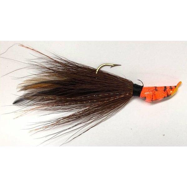 Big Jim's Bucktail Jig. 3/8oz Brown Black Feather Orange Tiger Head