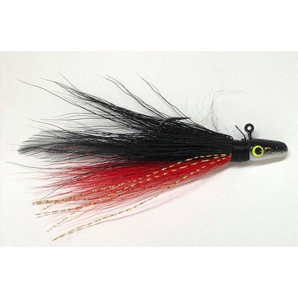 Big Jim's Bucktail Jig. 1/8oz Red Belly Black w/Wht/Blk Head