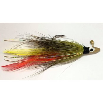 Big Jim's Bucktail Jig. 1/16oz Olive w/Red Yellow Feather Gold Flash Gld Head