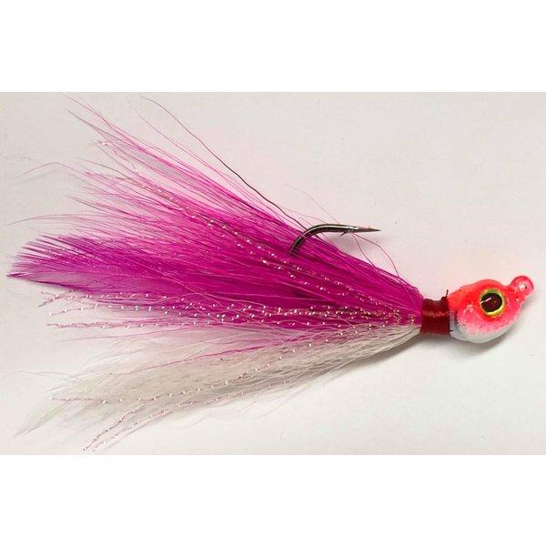 Big Jim's Bucktail Jig. 3/8oz White Belly Pink w/Pink & White Head
