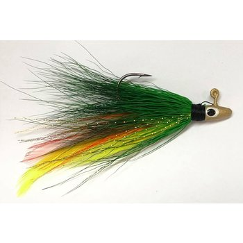 Big Jim's Bucktail Jig. 1/16oz Green Orange Yellow Feather Gold Head